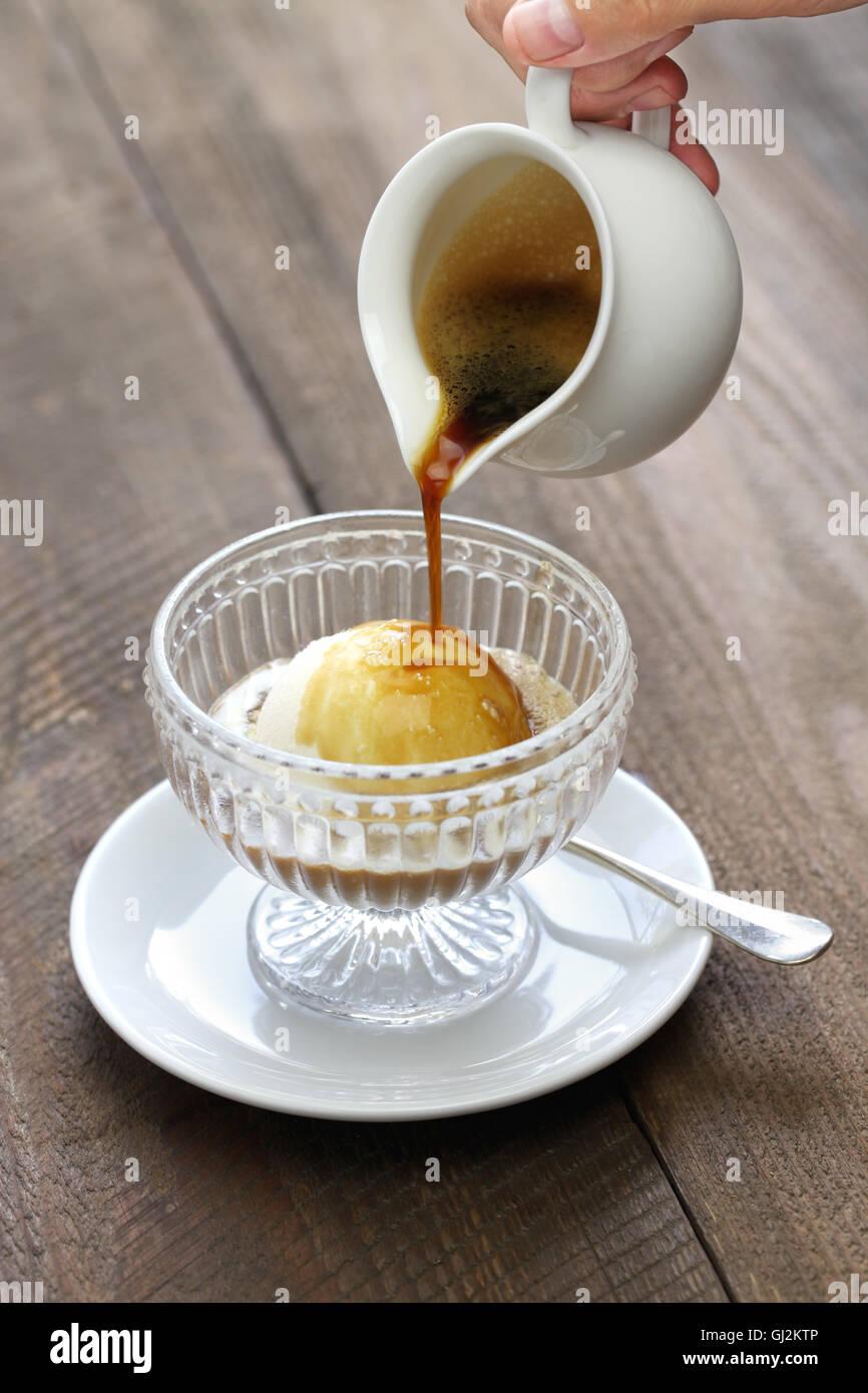 Affogato Espresso Kaffee Sahne Italienische Einfache Dessert Eis
