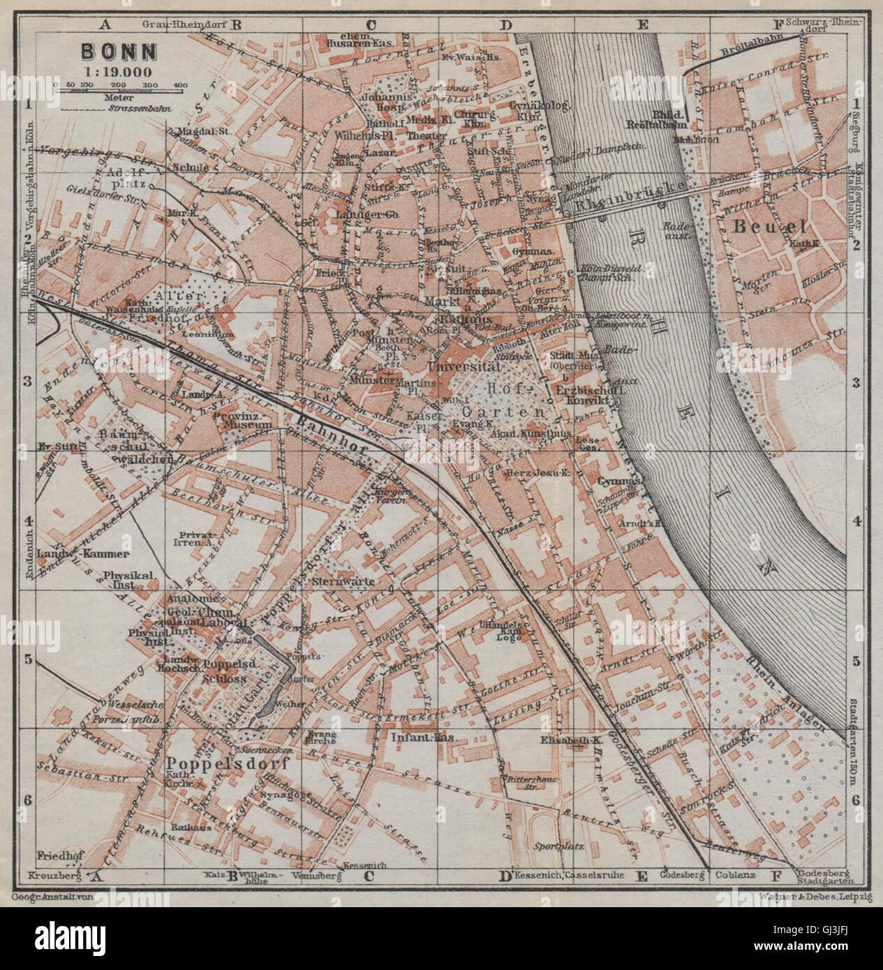 Bonn Karte.Bonn Vintage Stadt Stadt Attraktivem Karte Von Nordrhein Westfalen