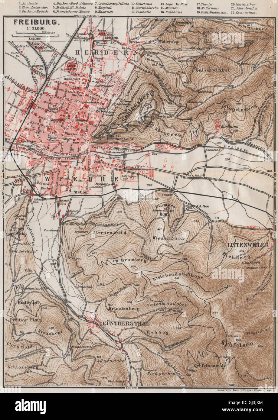 Europe Maps Neustadt An Der Weinstraße & Winzingen Neustadt An Der Haardt Karte 1906 Map