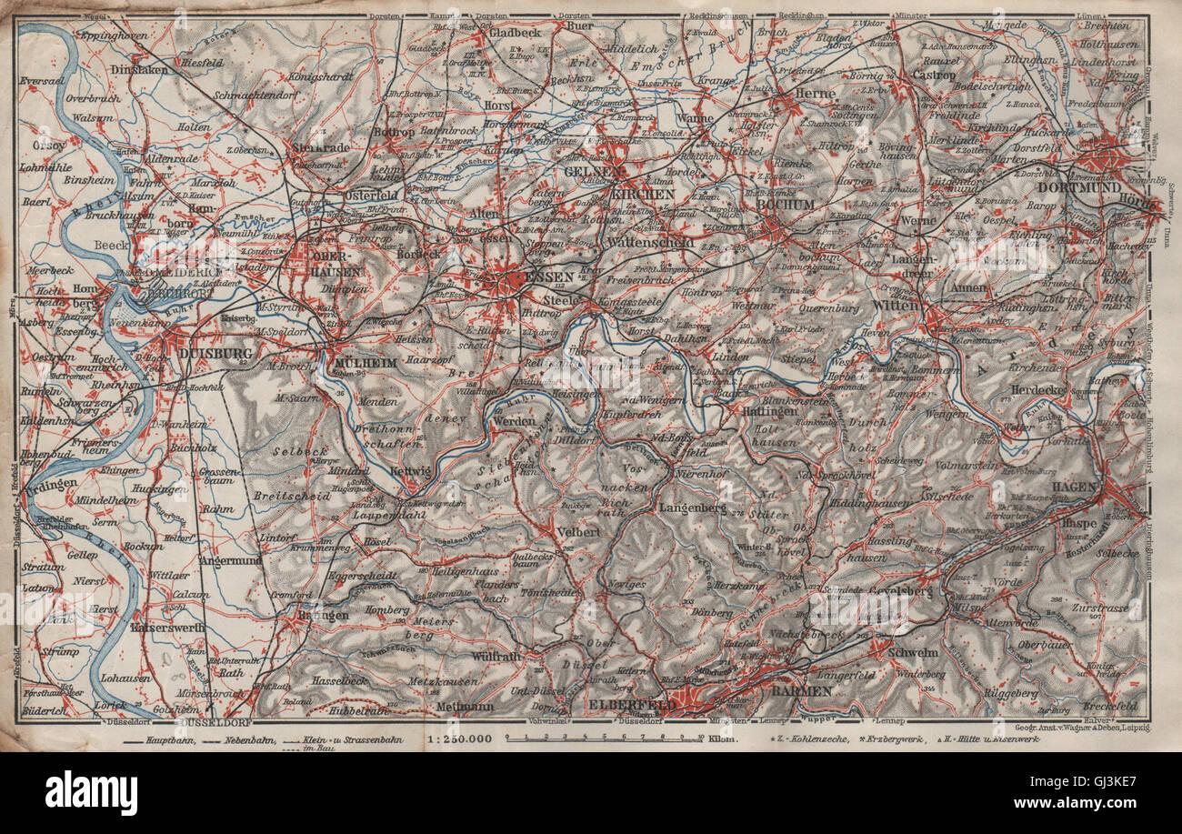 Karte Ruhrgebiet.Ruhrgebiet Eisenbahnen Ruhrgebiet Duisburg Essen Bochum