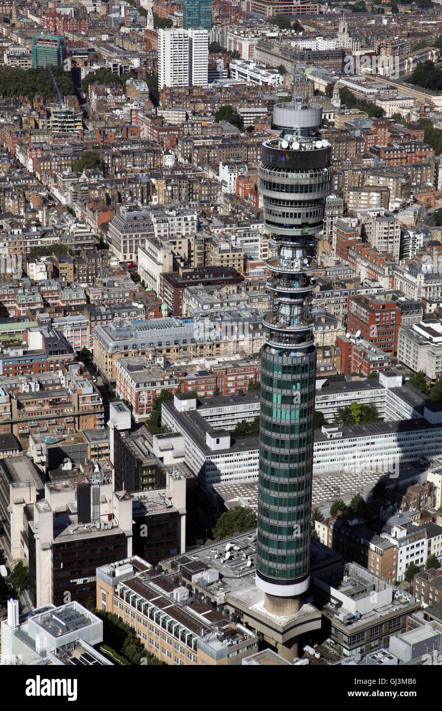 Luftaufnahme des BT Tower, ehemals Post Office Tower in Fitzrovia, West-London, UK Stockbild