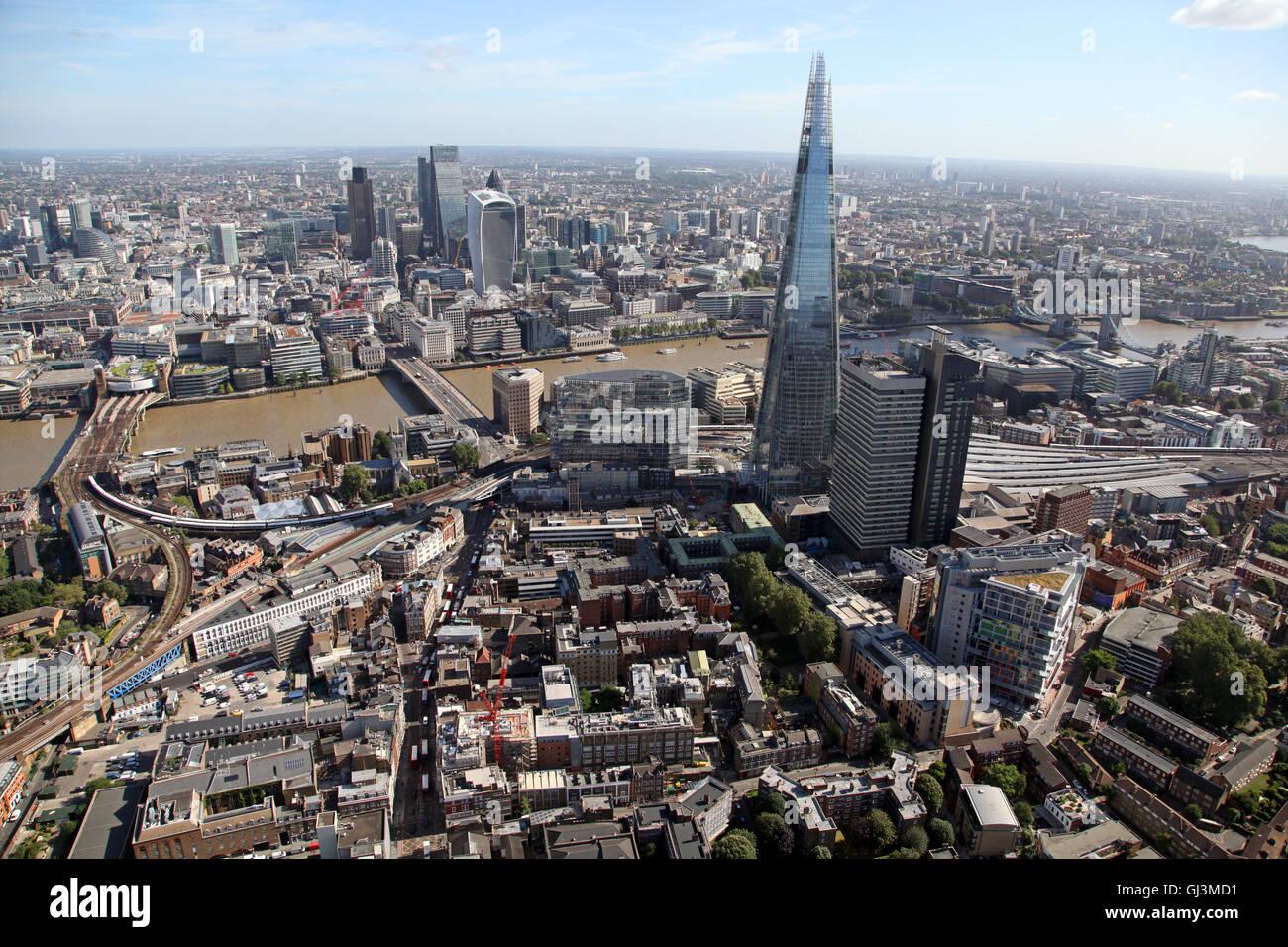 Luftaufnahme von The Shard, Guys Hospital, Themse & der Stadt London Stockbild