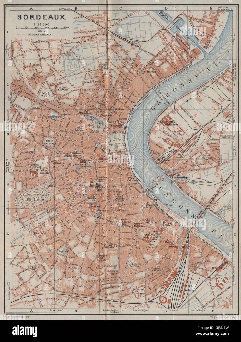 Bordeaux Antike Stadt Stadt Plan De La Ville Gironde Carte