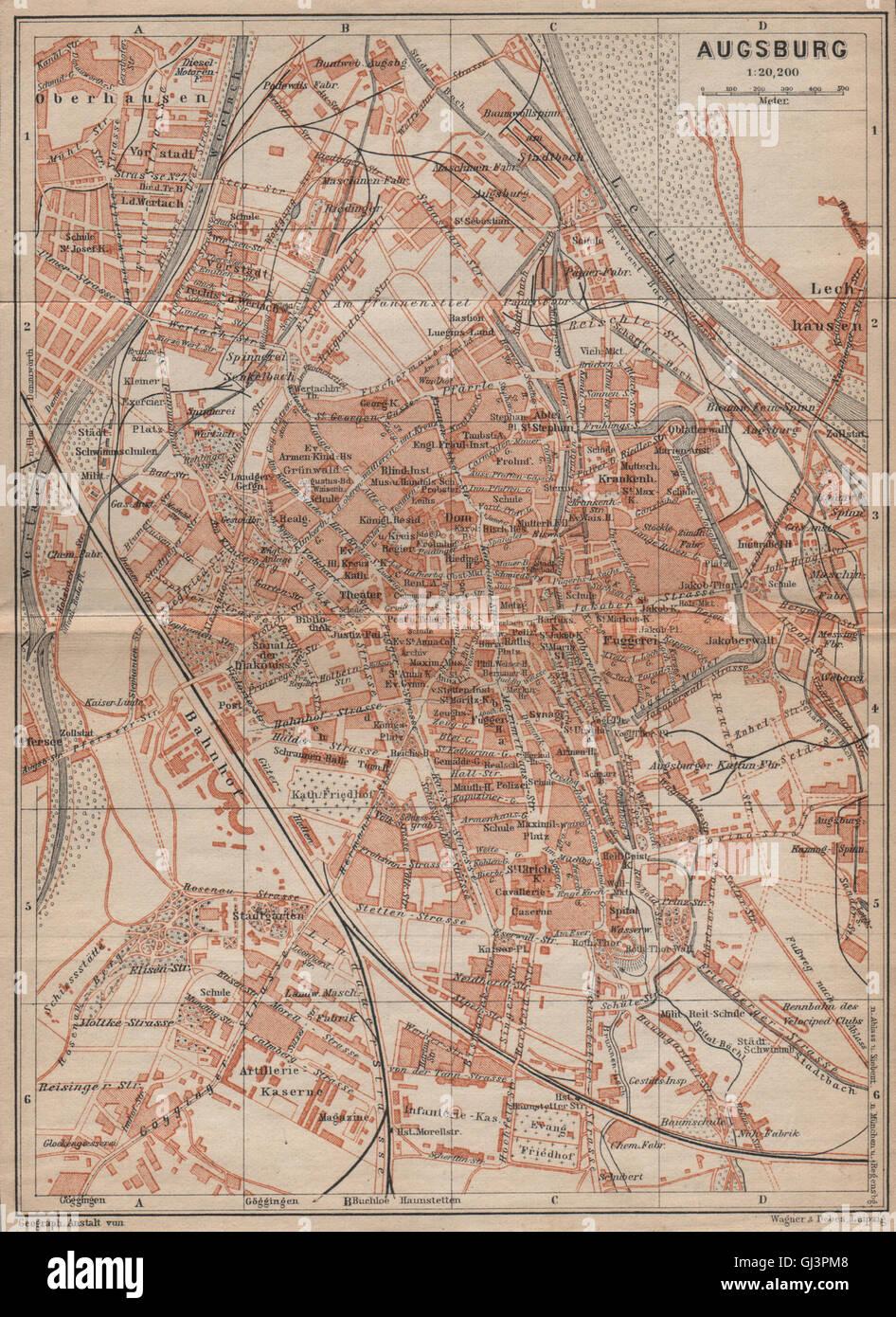 Karte Augsburg.Augsburg Antiken Stadt Stadt Attraktivem Bayern Karte