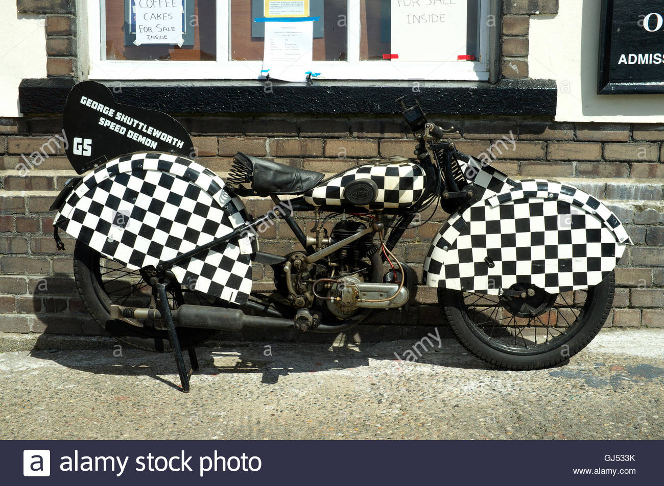 Eine Replik des Motorrads George Shuttleworth Speed Demon, Manx Transport Heritage Museum, Peel, Isle Of man. Stockbild