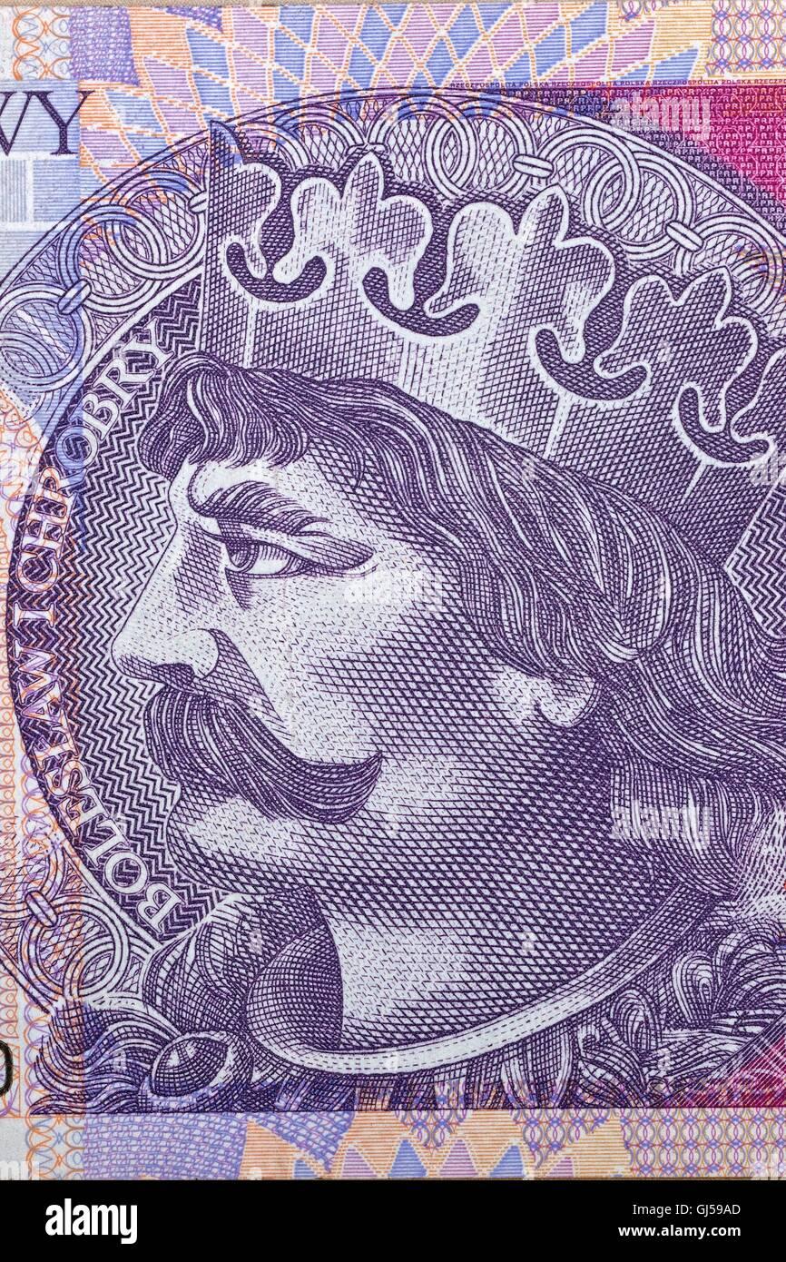Boleslaw der tapfere - polnischen Königs für 20 Zloty-banknote Stockbild