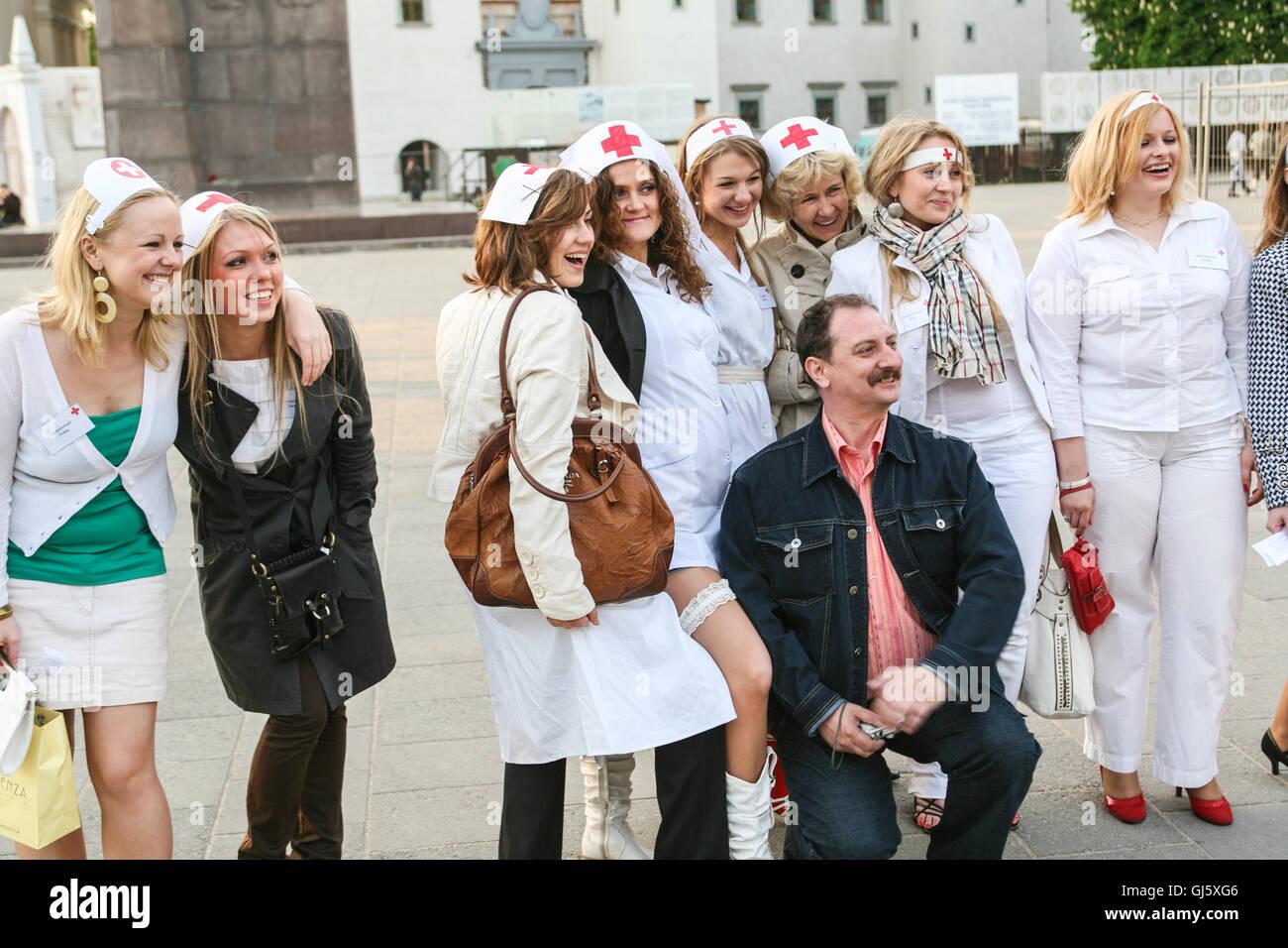 Hennen, von a, Polterabend, Henne, verkleidet als, Krankenschwestern ...