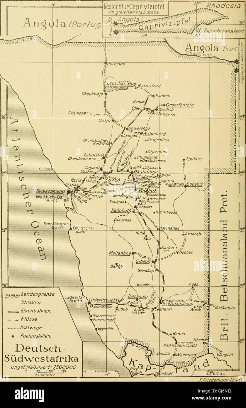 Sterben Sie, Postwertzeichen Und Entwertungen der Deutschen Postanstalten in Den Schutzgebieten Und Im Auslande (1921) Stockfoto