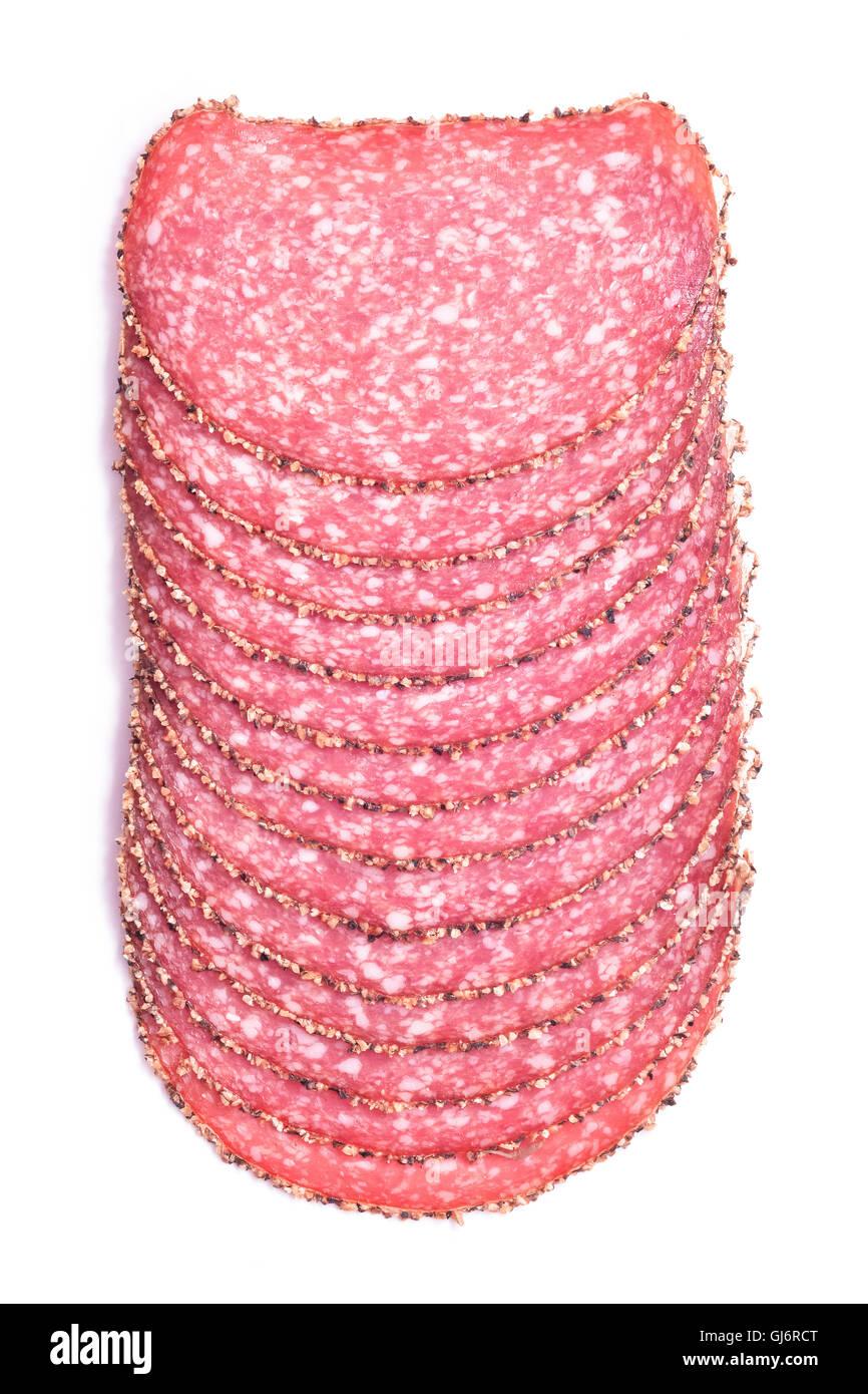 Pfeffer, pikante Salami-Scheiben isoliert Stockbild
