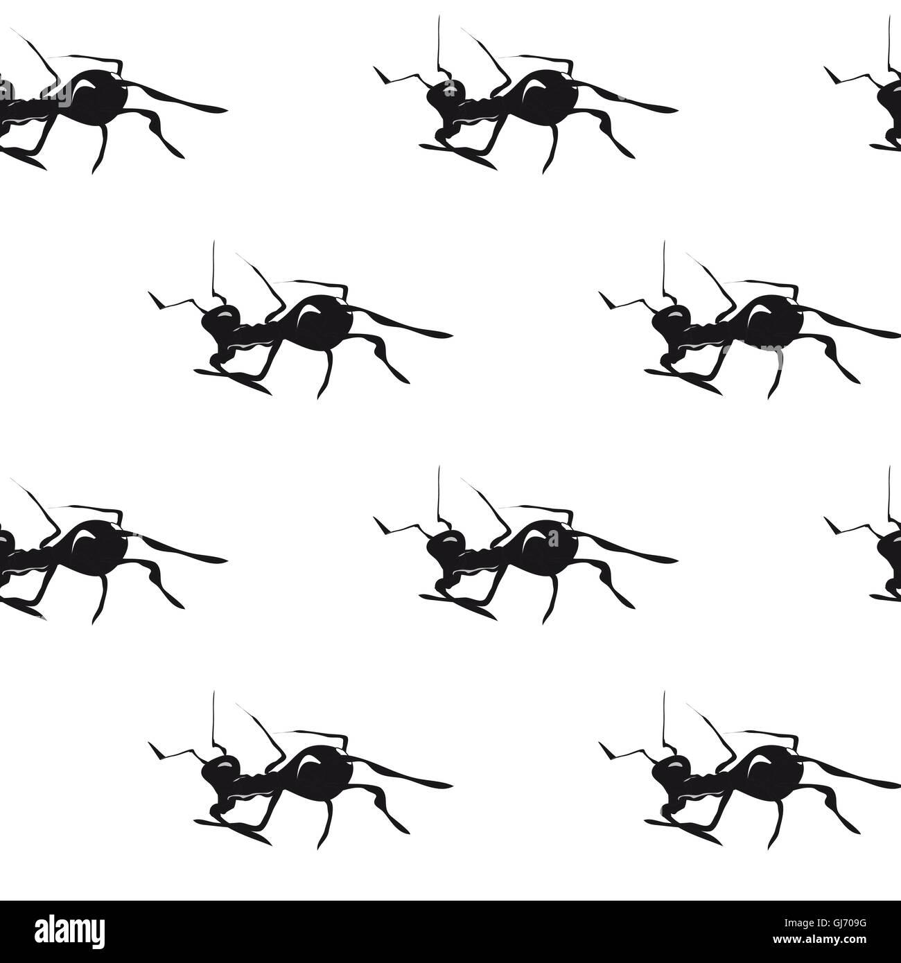Ameisen. Hand gezeichnet Vektor nahtlose Muster. Stockbild
