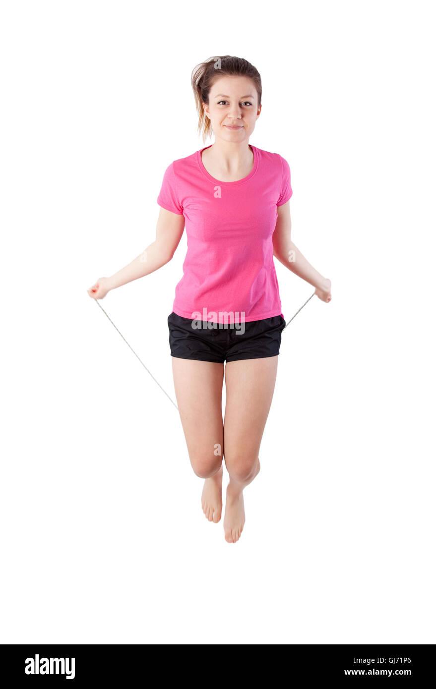 junge Frau mit einem Springseil Stockbild