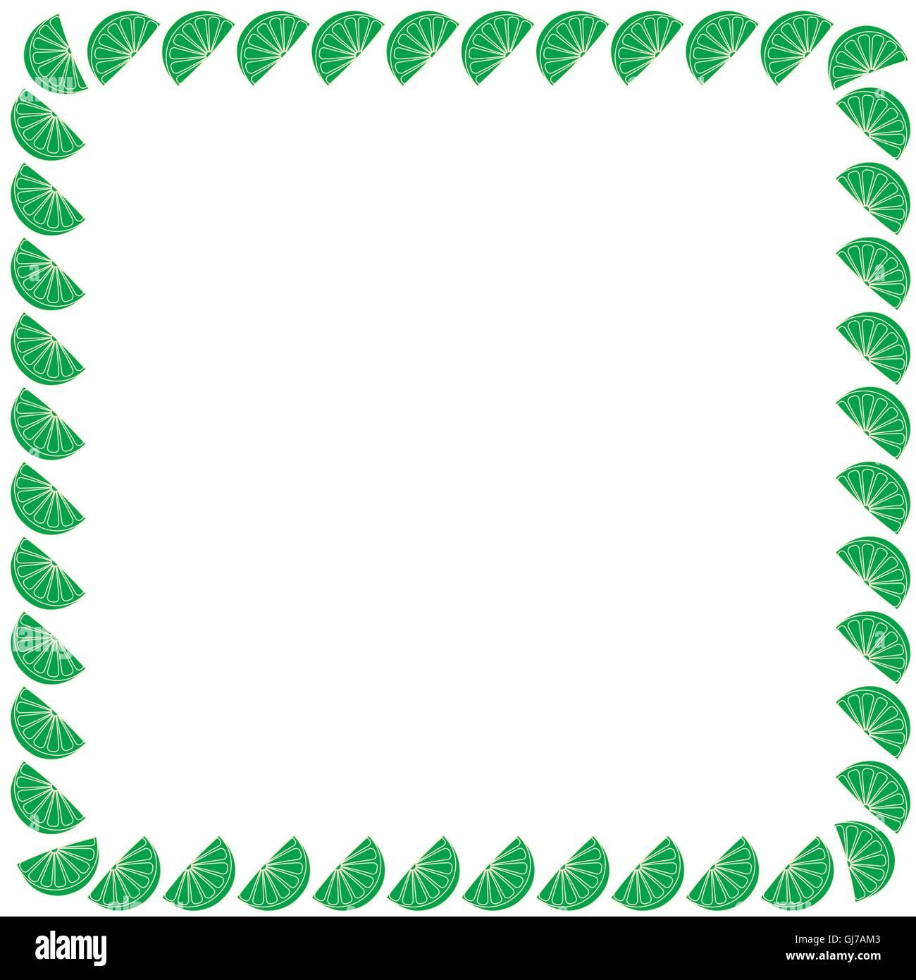 Niedlichen Rahmen aus Scheiben Orangen angeordnet in einem Quadrat auf weißem Grund Stockbild