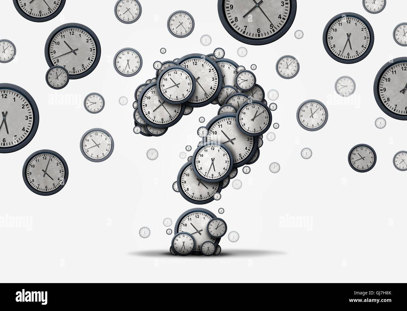 Zeit-Fragen-Konzept als eine Gruppe von schwimmenden Uhren und Zeitmesser, geformt wie ein Fragezeichen als Metapher Stockfoto