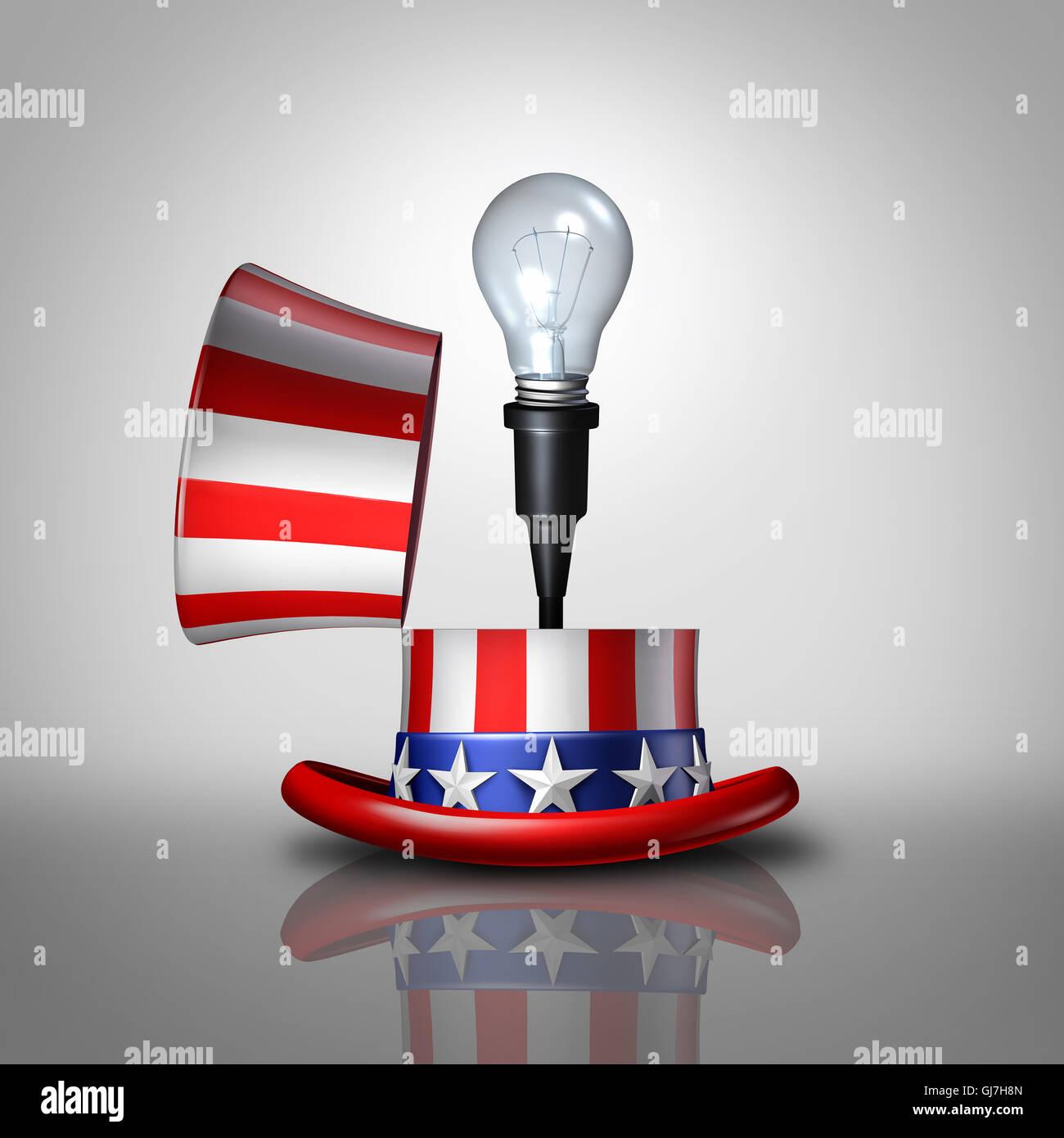 Amerikanische Idee Konzept als eine offene United States flag Hut mit einer Glühbirne Schwellenländern Stockbild