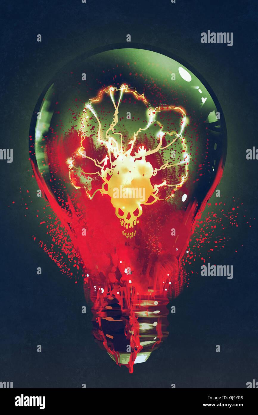 Glühbirne mit leuchtenden Schädel innen auf dunklem Hintergrund, Illustration, Malerei Stockbild