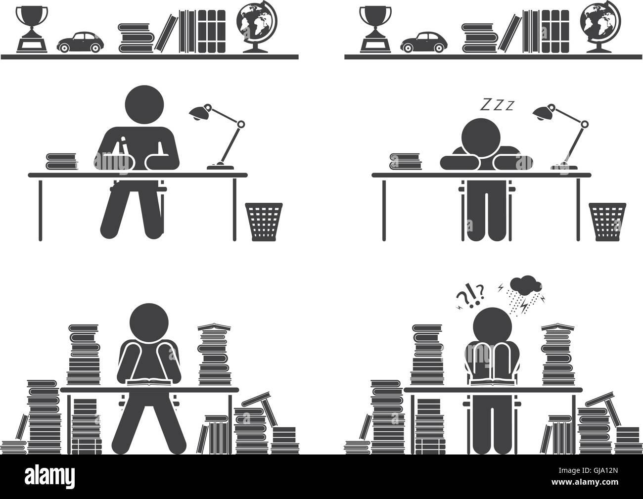 Schultage. Piktogramm-Icon-Set. Schülerinnen und Schüler. Stockbild