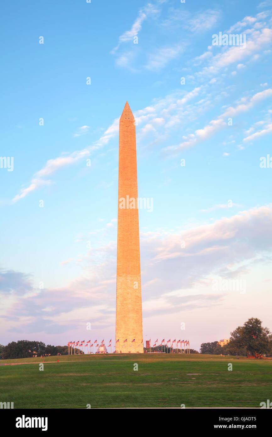Washington Denkmal in Washington, DC am Abend Stockbild