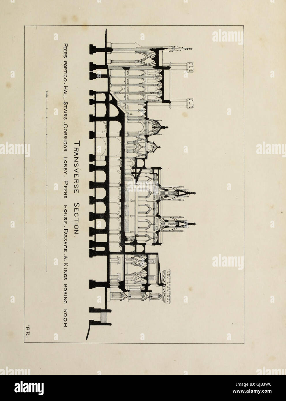 Entwrfe Fr Die Vorgeschlagenen Neuen Houses Of Parliament Uzi Schematic Bestehend Aus Vier Plne Geometrischen Ansichten Einem Lngs Und Zwei Querschnitte Mit
