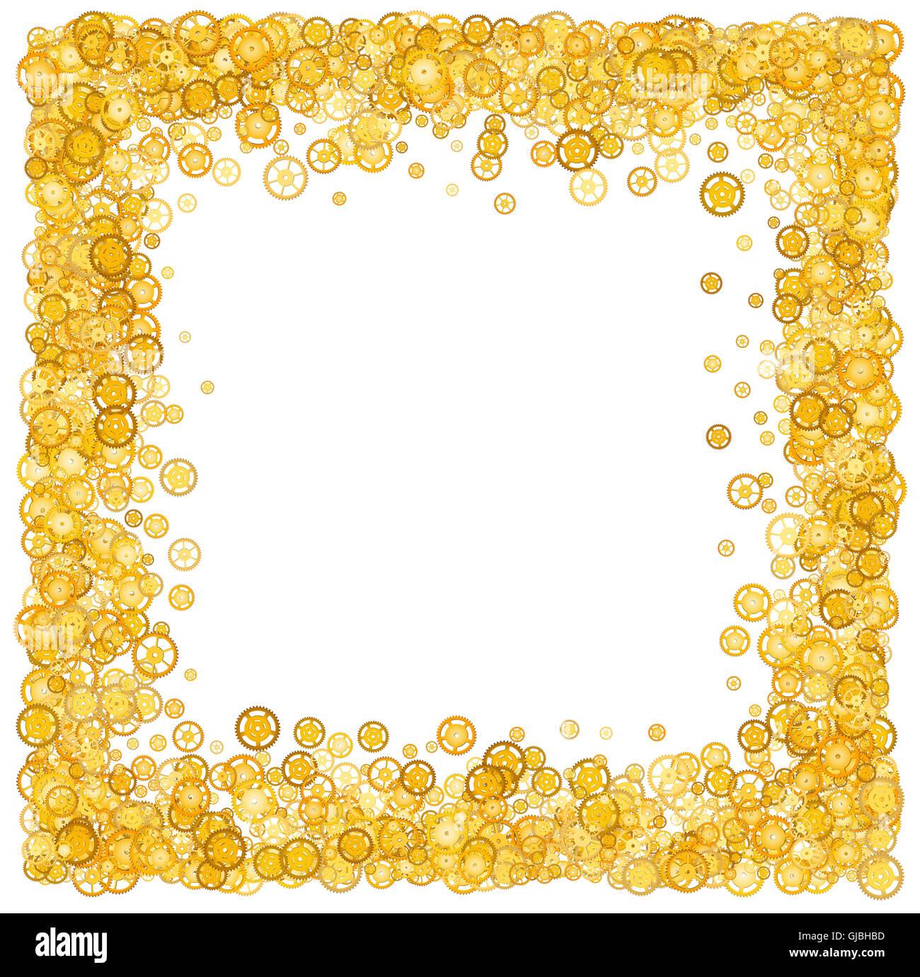 Karte mit vielen Gängen. Gold Grenze. Schimmer. Goldener Rahmen von ...