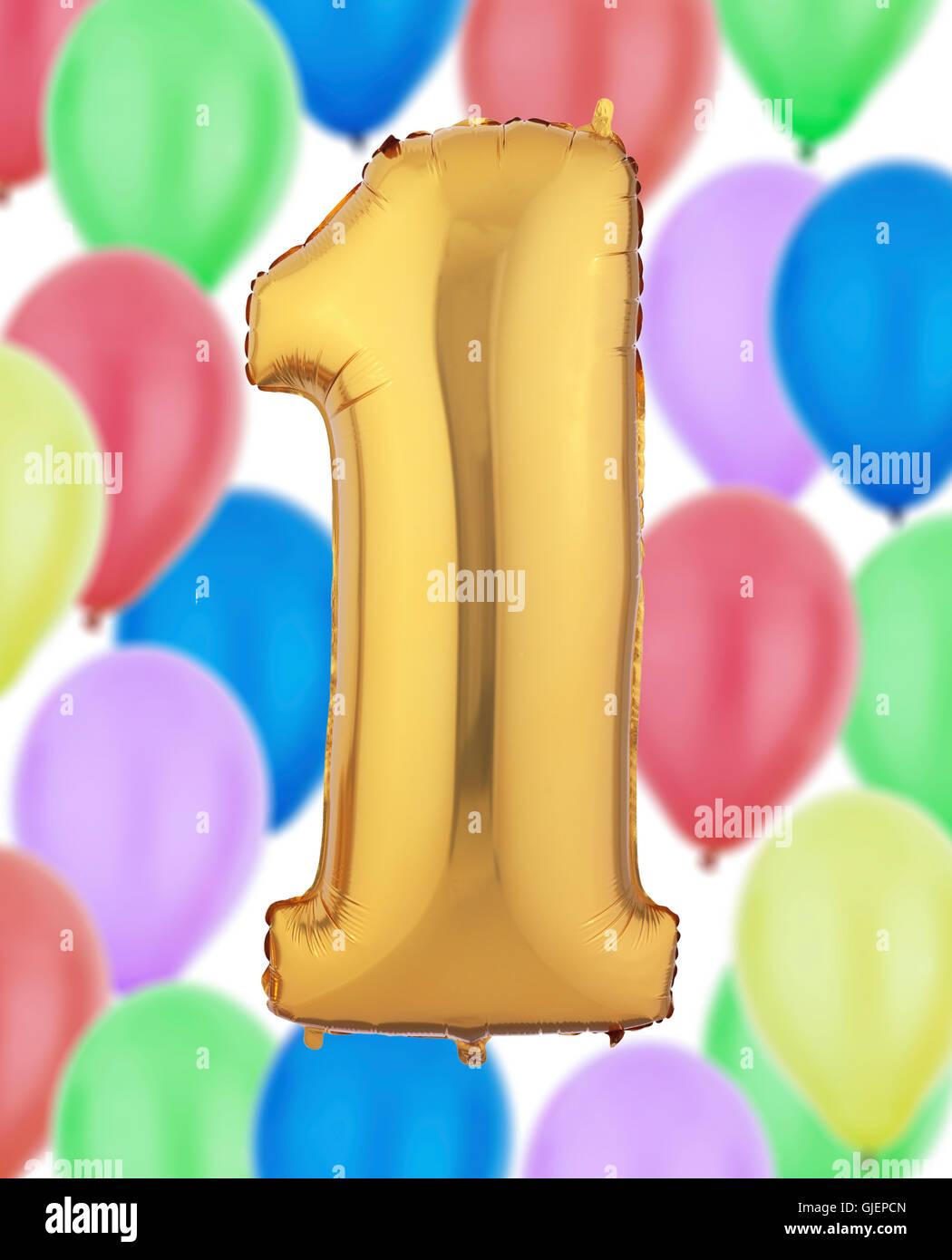Nummer 1 Gold Ballon Stockbild