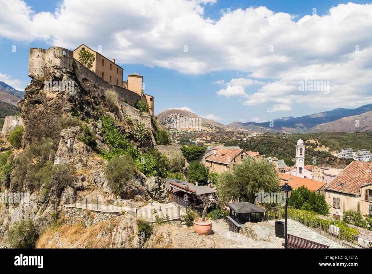 Corte Zitadelle in Korsika, ein beliebtes Reiseziel in Frankreich. Stockbild