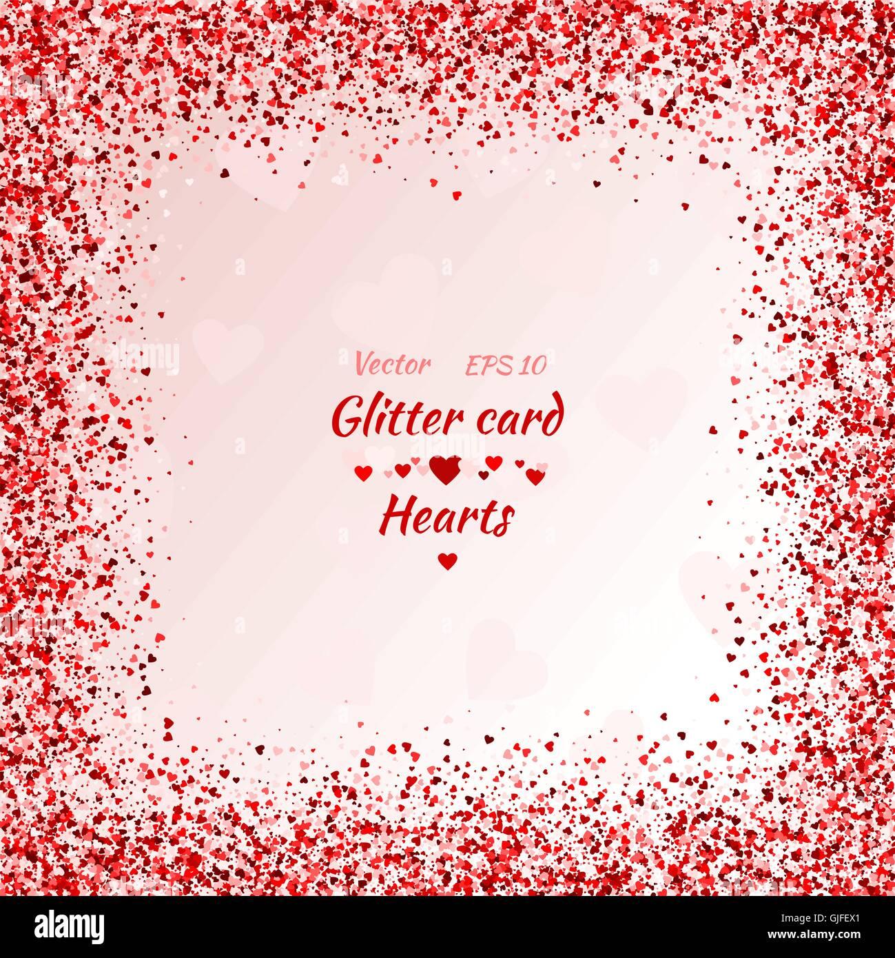 Vektor-Karte mit Schimmer. Grußkarte mit Herz. Rot Glanz. Schimmer ...