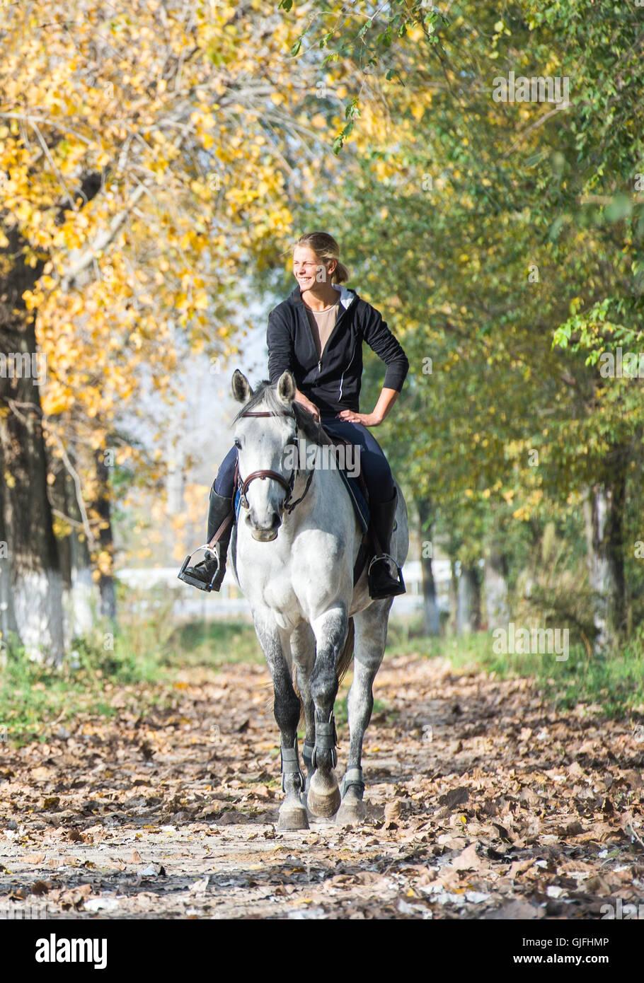 Mädchen auf einem Pferd im herbstlichen Wald Stockbild