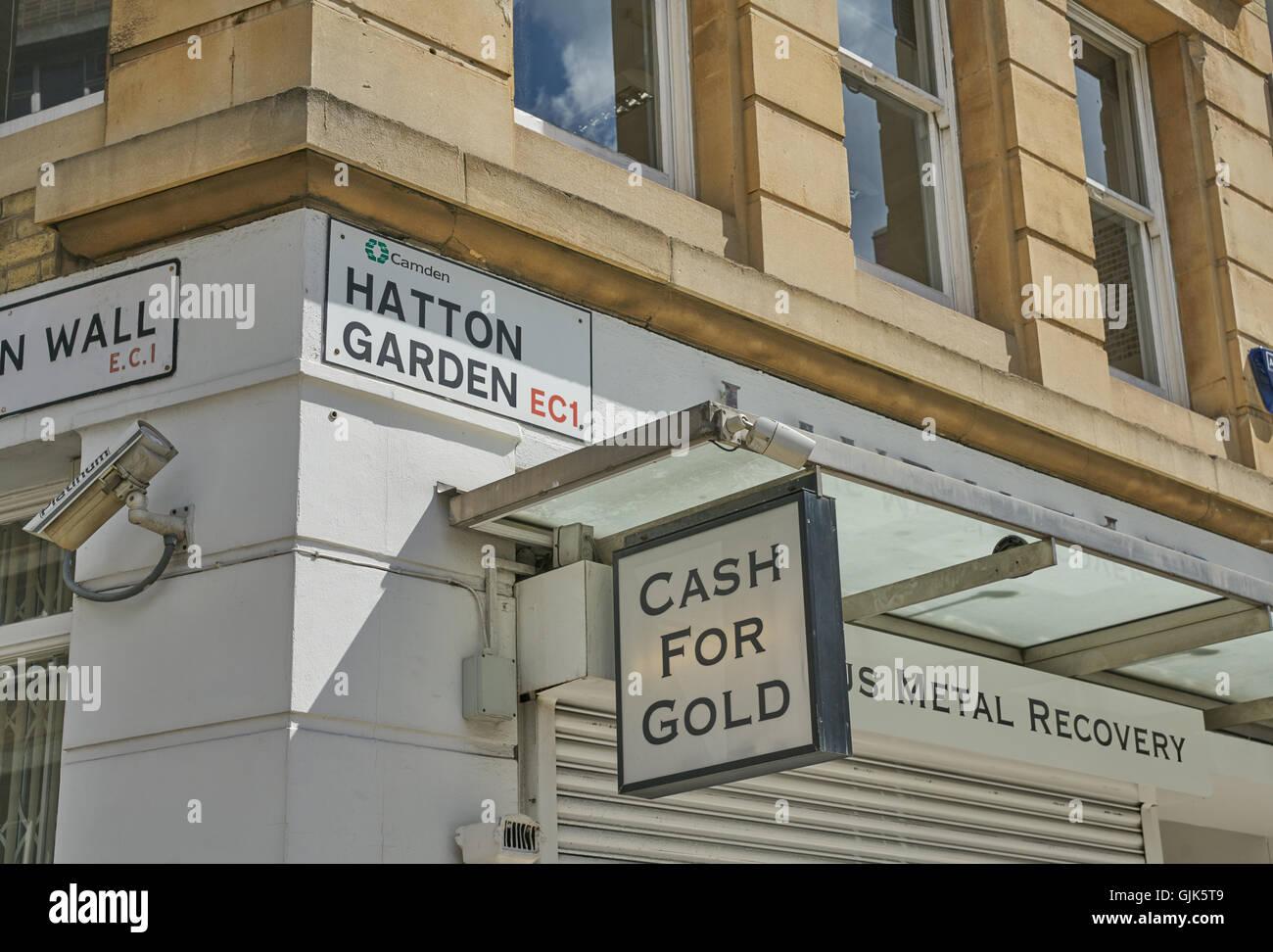 Hatton Garden in London, Metallrückgewinnung, gold-shop Stockbild