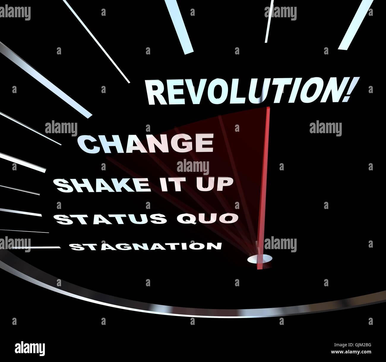 Änderung - Tacho Rennen zur Revolution Stockbild