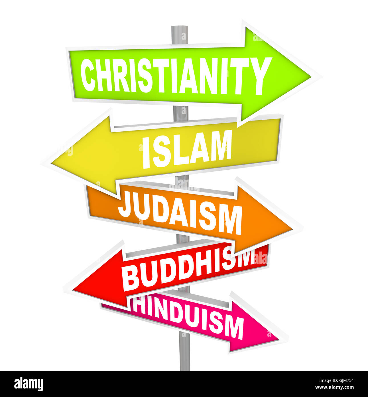 Fünf großen Weltreligionen auf Pfeil-Zeichen Stockbild