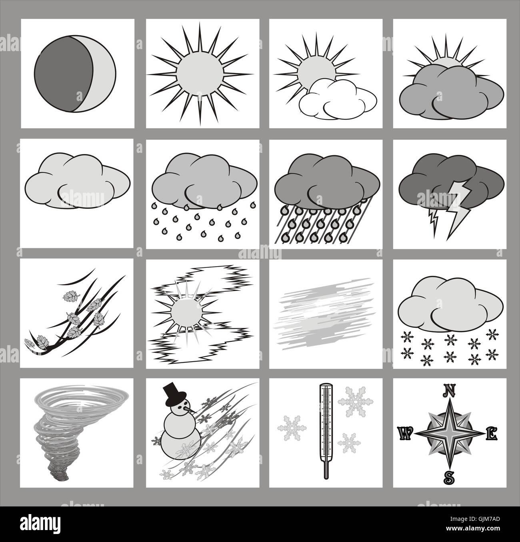 Wetter-Icons-Graustufen Stockbild