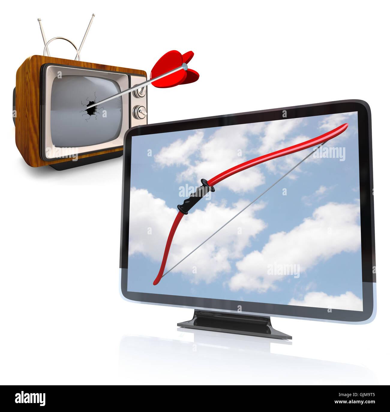 Crt Tv Stockfotos Bilder Alamy Monitor Diagram Neue Hdtv Schlgt Alte Altmodische Fernseher Stockbild