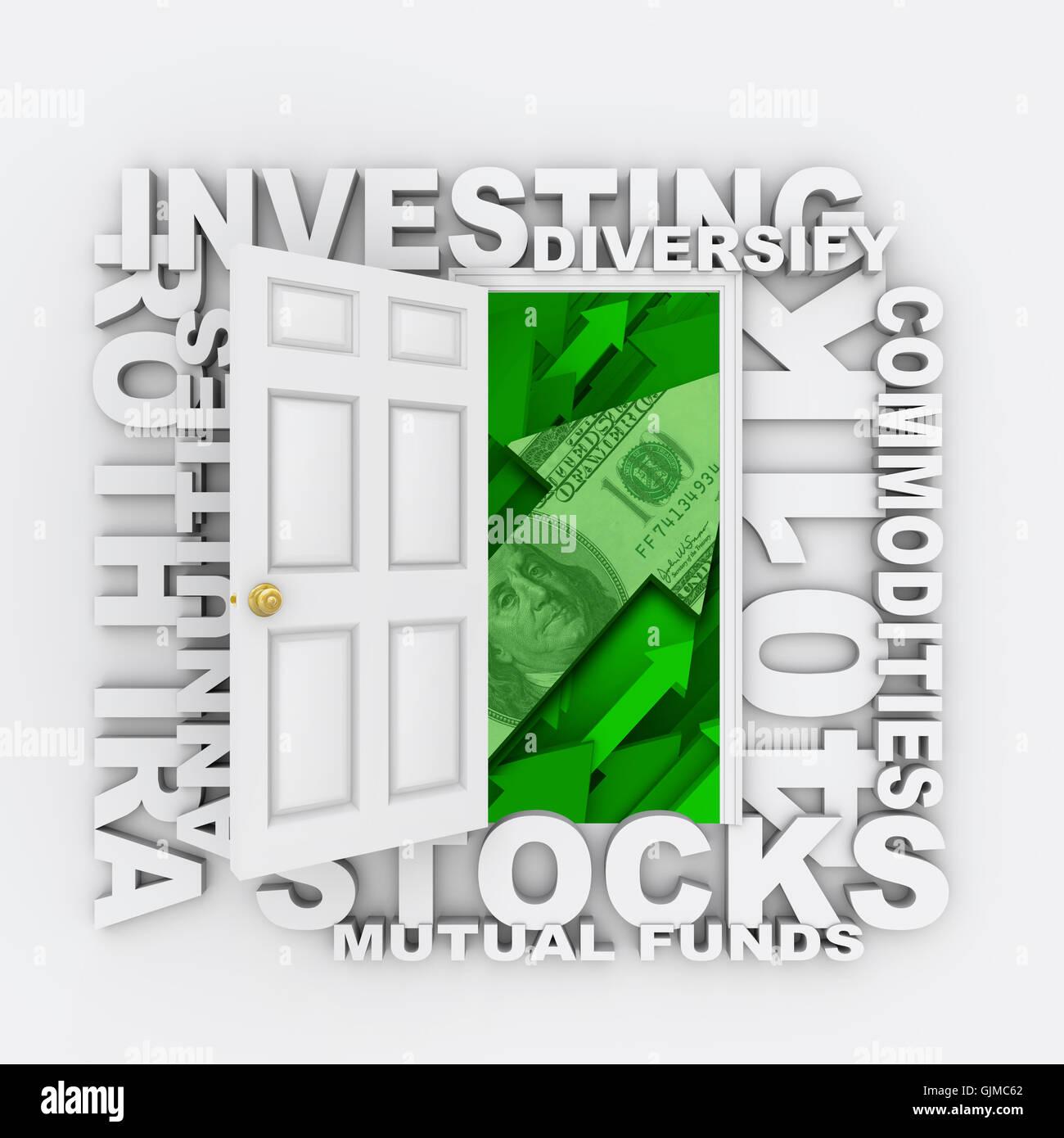 Investitionen - offene Tür für diversifizierte Investitionen Wachstum Stockfoto