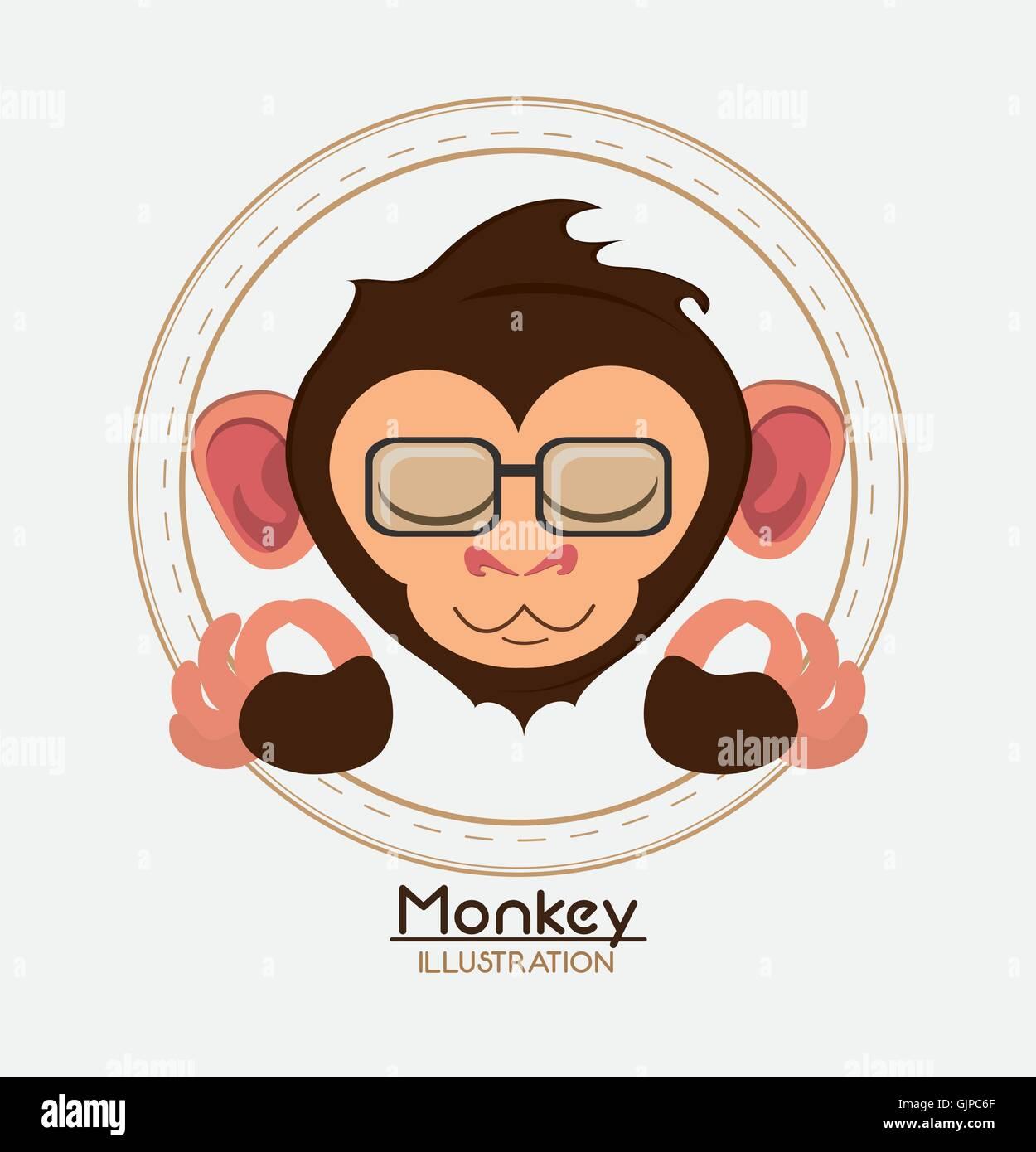 Affe Gesicht Brille Cartoon Tier-design Vektor Abbildung - Bild ...