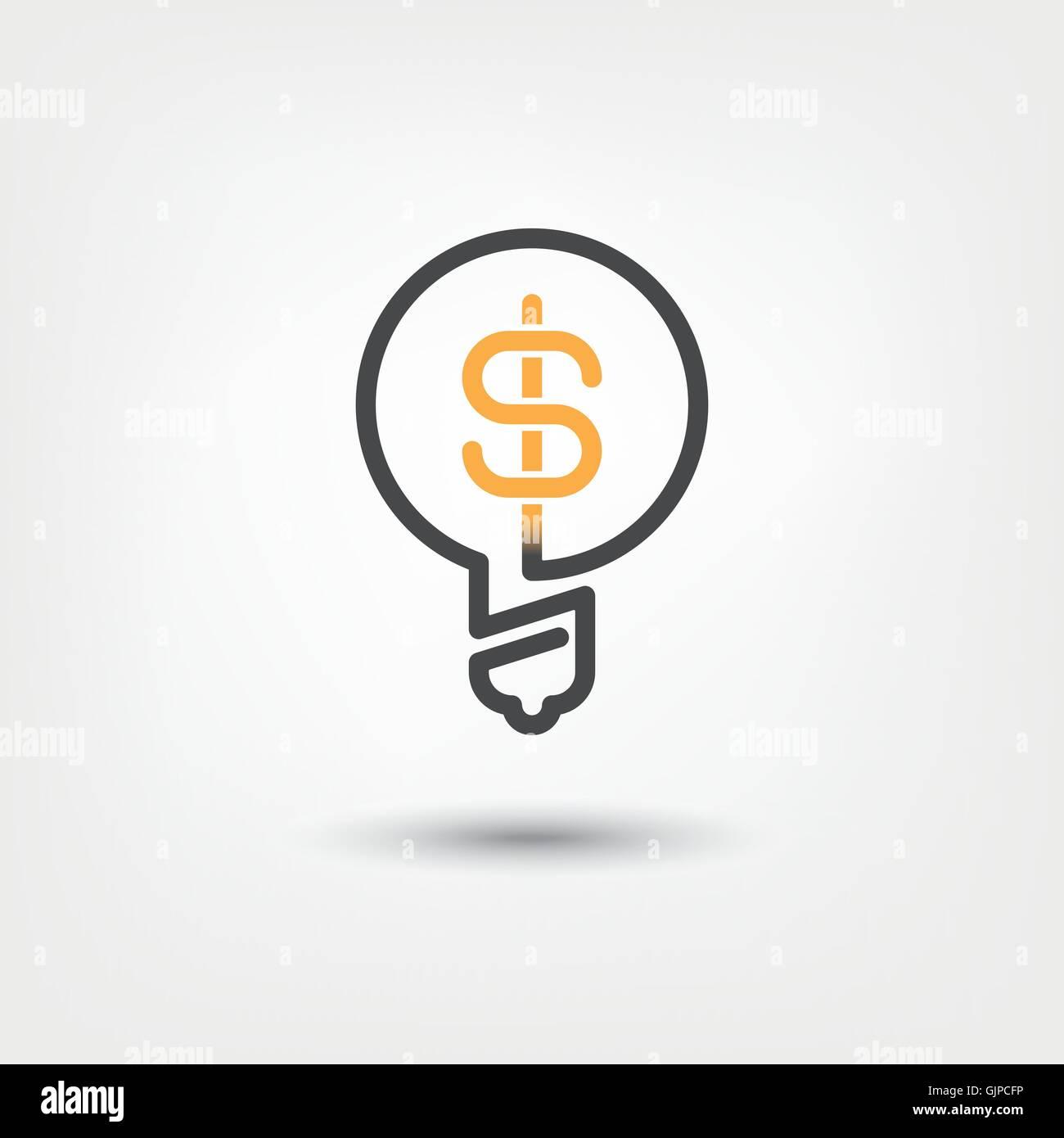 Ideen, die konzeptionelle Symbol Glühbirne mit Dollarzeichen auszahlen Stockbild