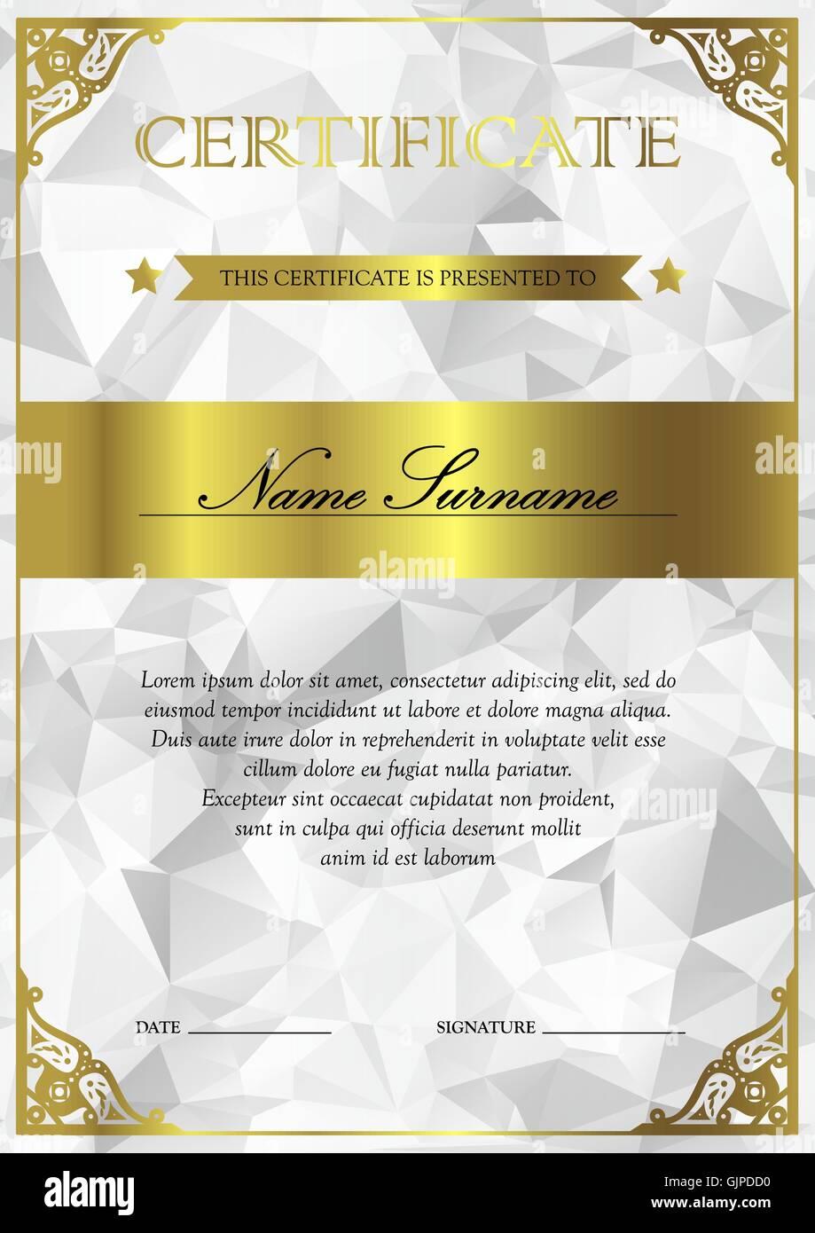 Vertikale Silber und Gold Zertifikat und Diplom-Vorlage mit Vintage ...