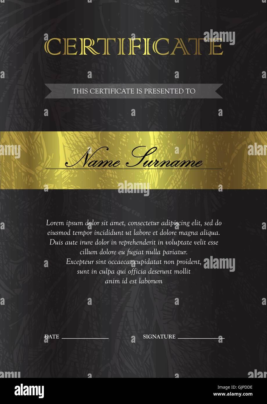 Gold Vertical Certificate Template Stockfotos & Gold Vertical ...
