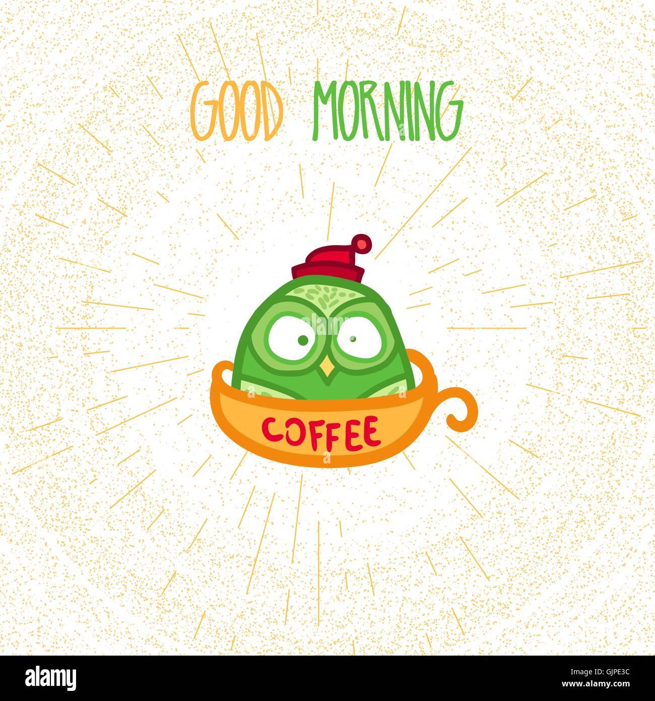 Handgezeichnete Lustige Eule Mit Tasse Kaffee Eule Mit Guten Morgen