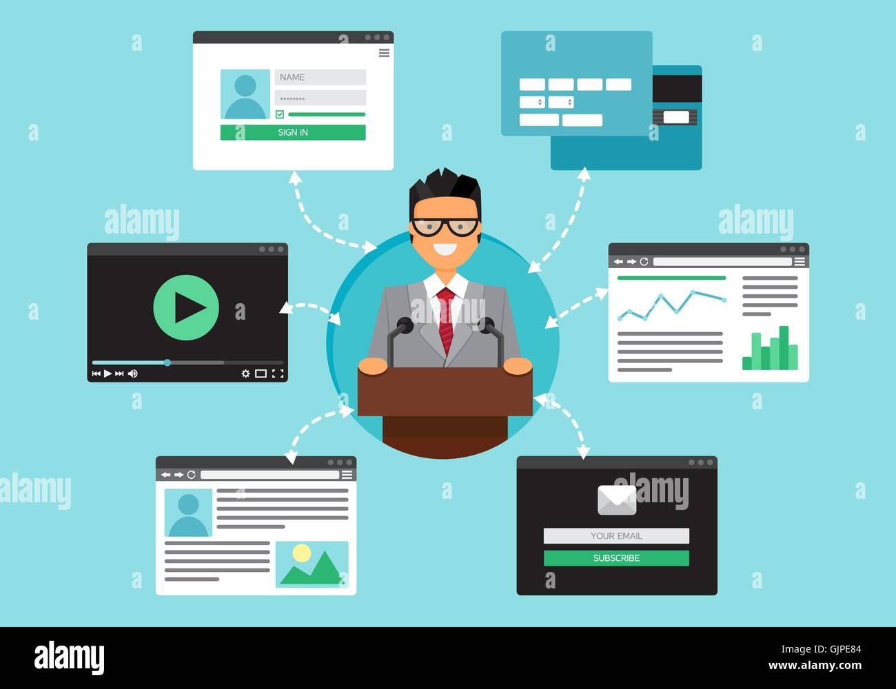 Web-Leben der Geschäftsmann aus Video, Blog, social Networks, Online ...