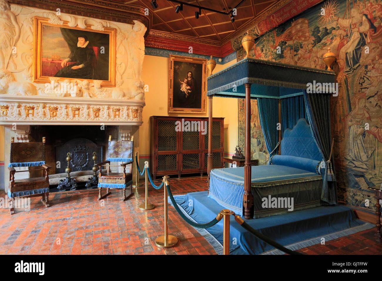 Das Chateau de Chenonceau, Innenansicht, Frankreich Stockfoto, Bild ...
