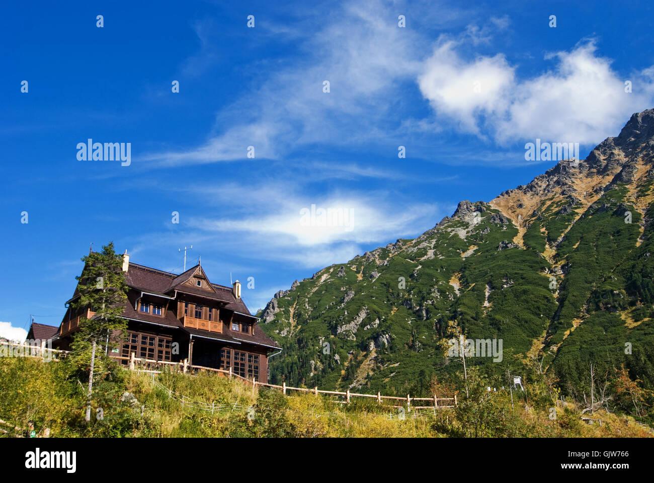 Berg-chalet Stockbild