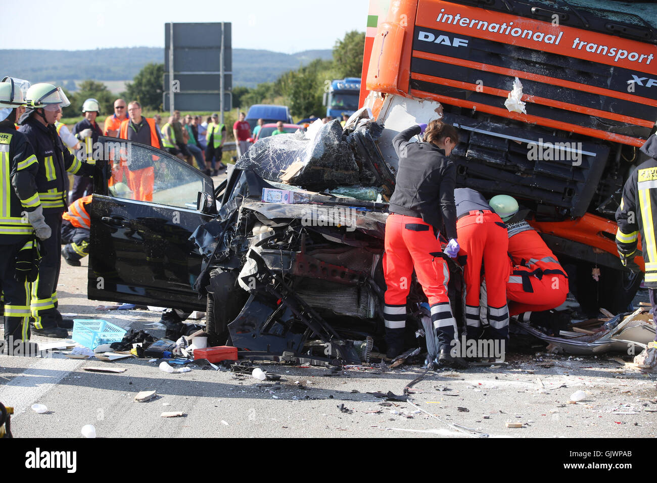 Truck Accident On A61 Motorway Stockfotos & Truck Accident On A61 ...