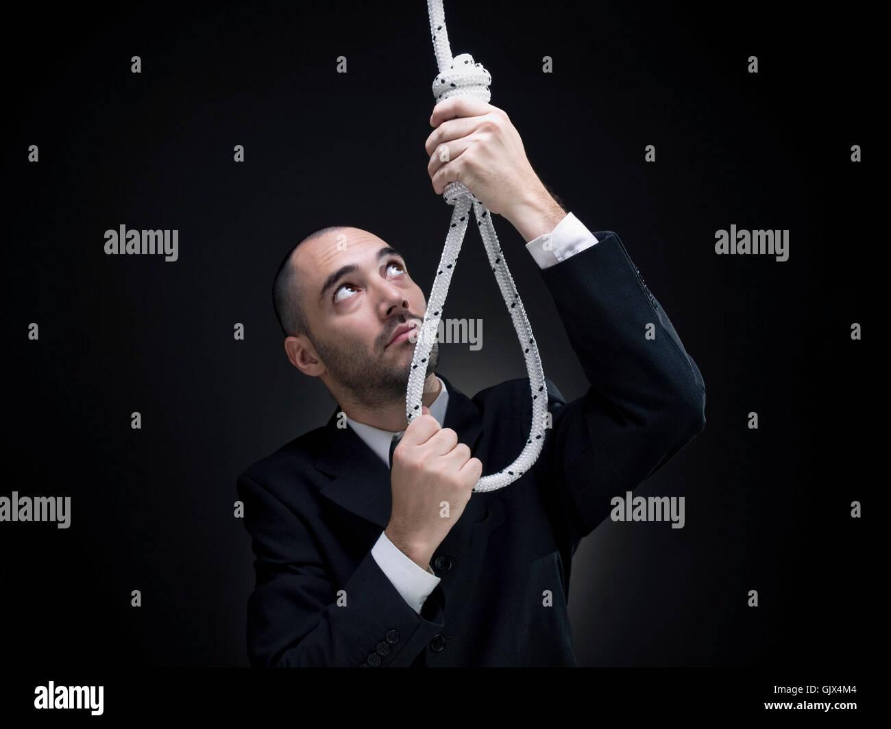 Tod Selbstmord Seil Stockbild