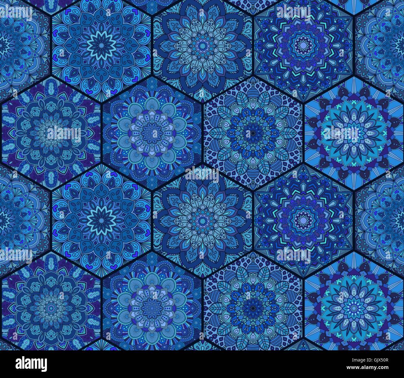 Fliesen Blau Sechseck Mandala Vektor Abbildung Bild 114900711 Alamy