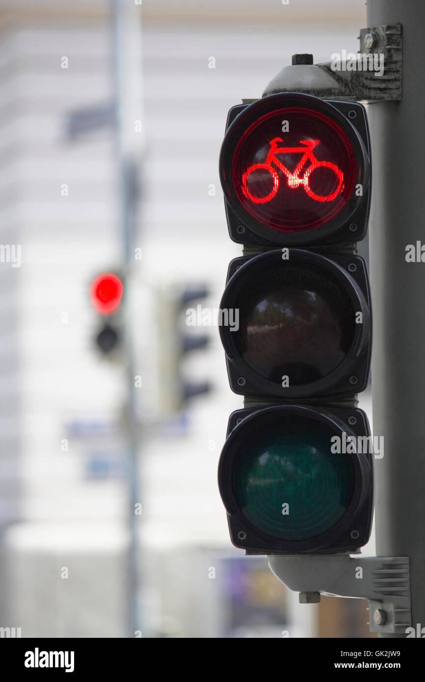 Fahrrad-Ampel rot Stockfoto