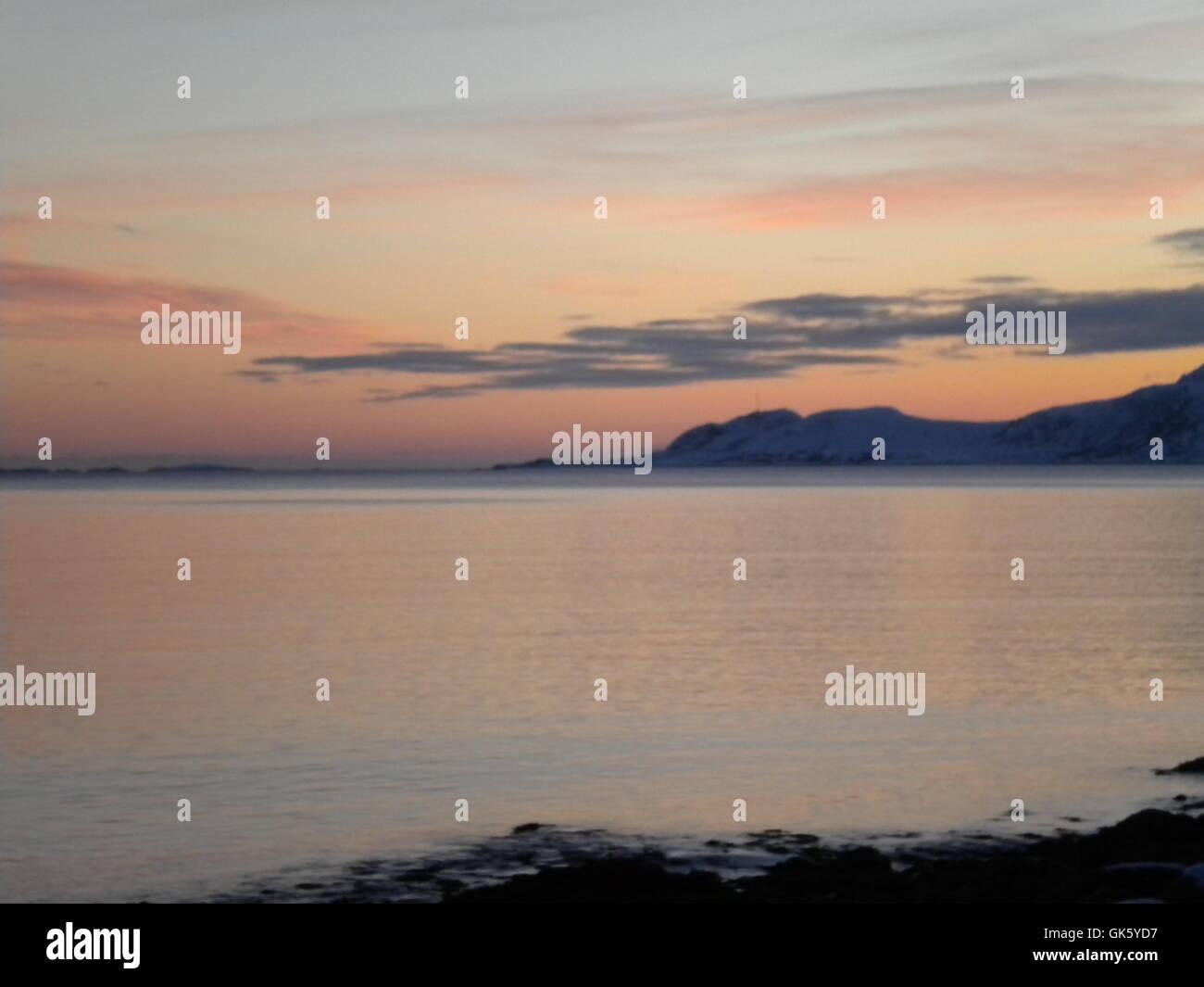 Sonnenuntergang auf den Lofoten Stockbild