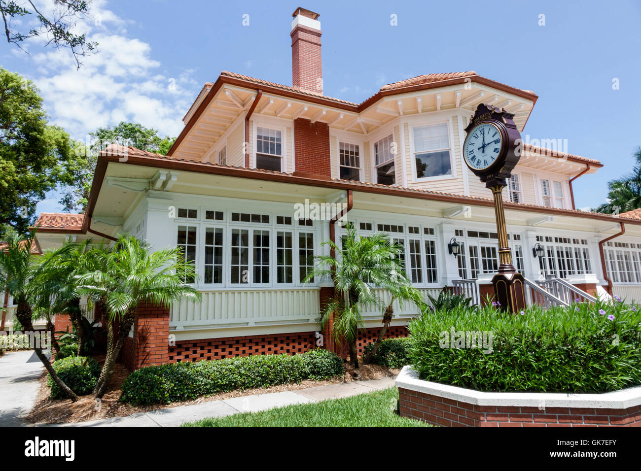 Florida Palmetto Palmetto Riverside Bed and Breakfast Haus Kulturdenkmal 1913 Gästehaus außen Garten Sears Stockbild