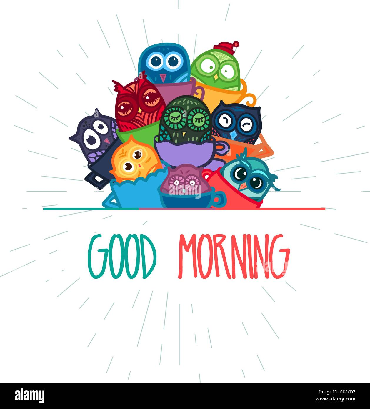 Handgezeichnete Lustige Eule Mit Tasse Kaffee Banner Eule