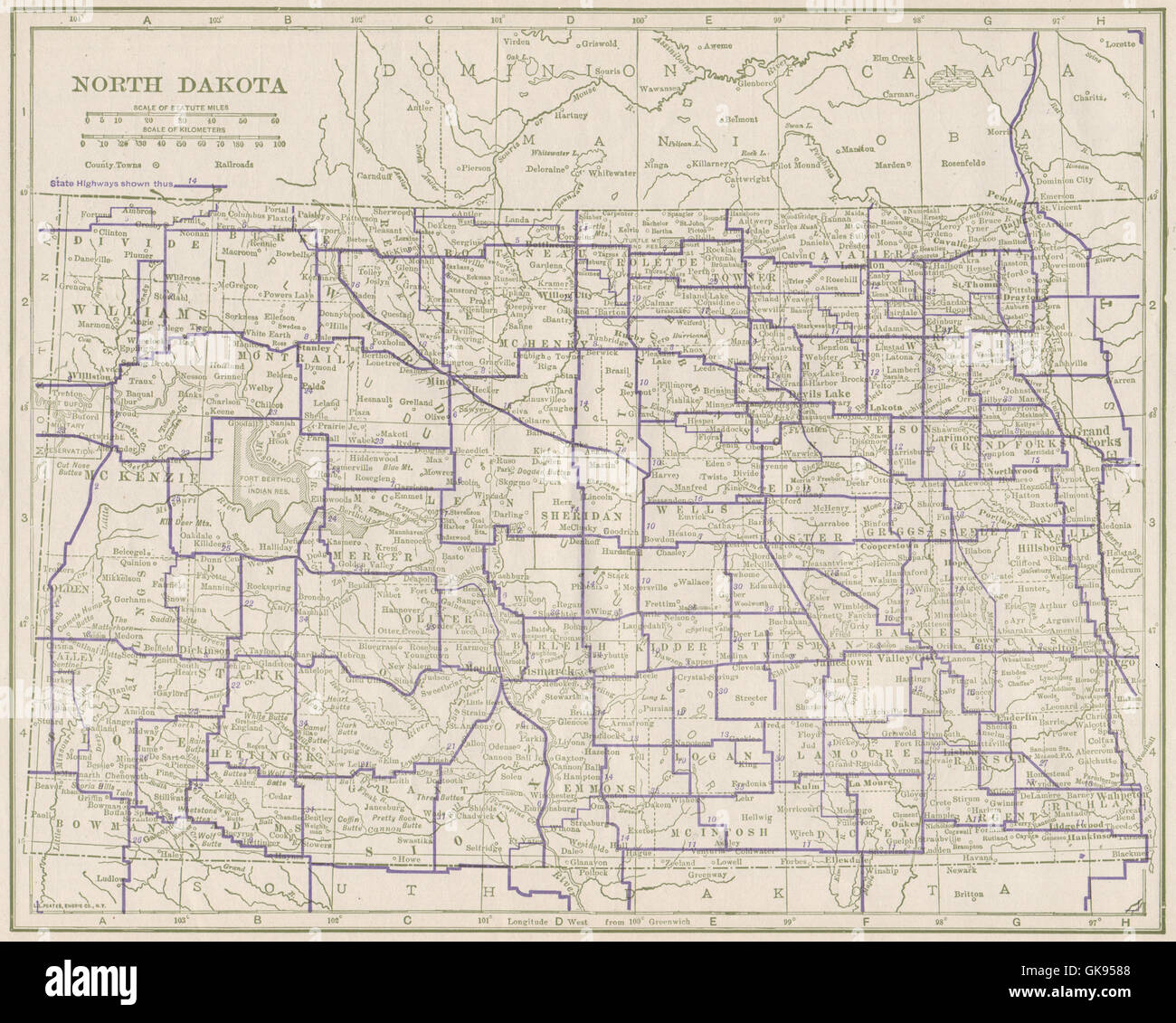North Dakota Map Stockfotos & North Dakota Map Bilder - Alamy