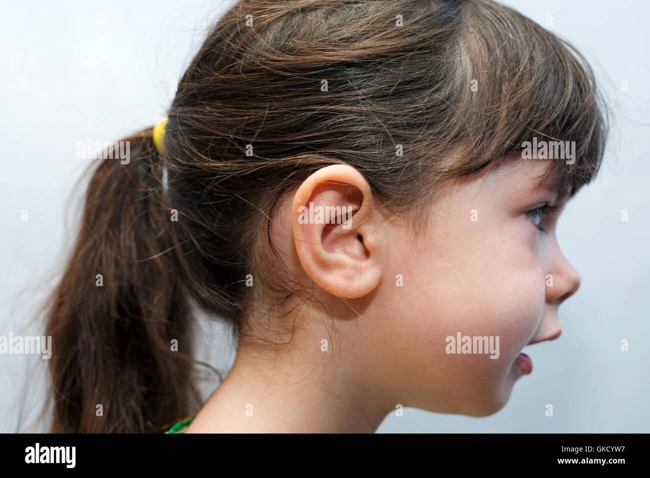 4 Jahre Altes Mädchen Mit Pferdeschwanz Frisur Stockfoto Bild